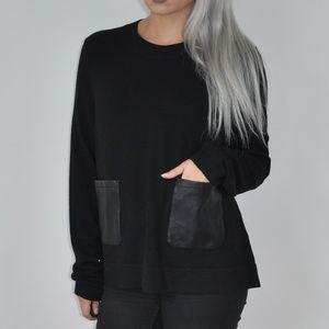 Banana Republic Black Sweater Faux Leather Pockets
